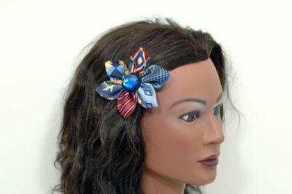 Upcycled Necktie Daisy Hair Clip